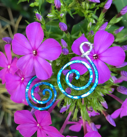 Whimsical Hand painted and hammered aluminum earrings