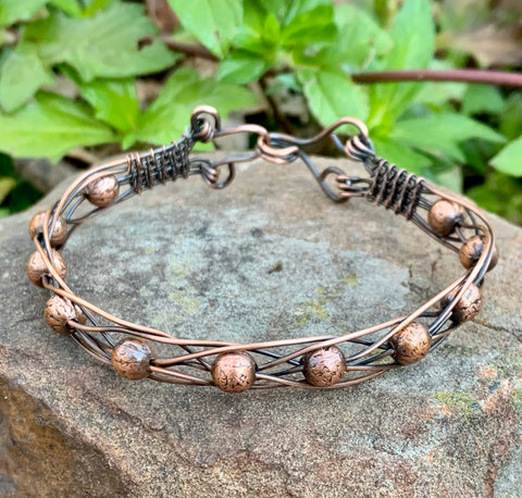 wire wrapped and Braided Copper and Copper Bead Bracelet