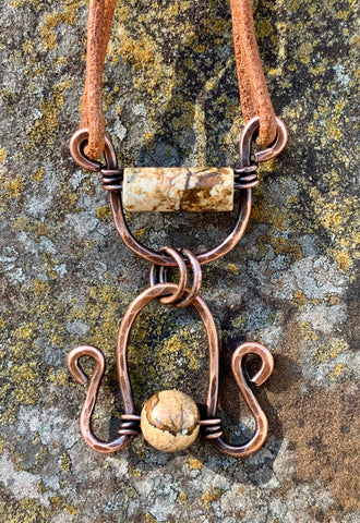 Hammered Copper Necklace with Picture Jasper on tan 2mm leather cord with handmade clasp.