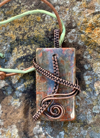 Copper Wire Wrapped Jasper Necklace with adjustable leather and Silk cords.