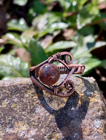 Wire Wrapped Copper and Petrified Wood Ring