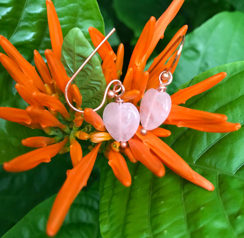 Quaint Rose Quartz Heart and Copper Earrings