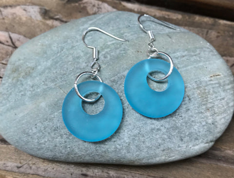 Flirty Recycled Glass Hoop Earrings in Sterling Silver