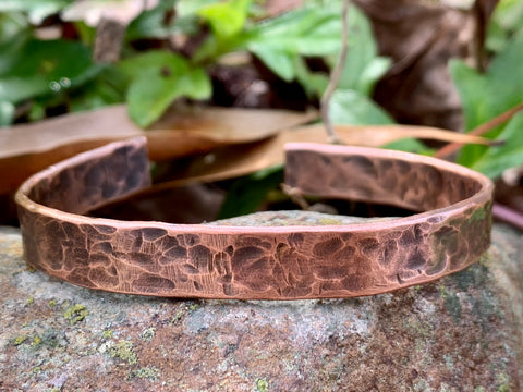 Rustic Hammered Solid Copper Cuff Bracelet