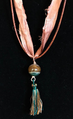 Striped Agate Tassel Necklace