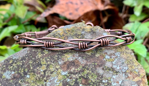 Heavy gauge braided Copper Bracelet with hook and eye clasp.