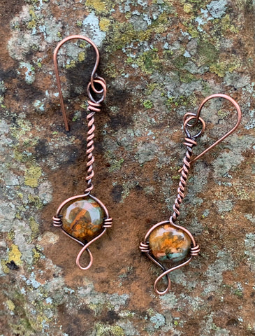 Twisted Copper and African Green Opal Earrings
