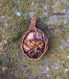 Colorful Flame Jasper Pendant in Copper
