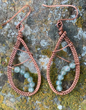 Woven Copper Teardrop Earrings with Aquamarine