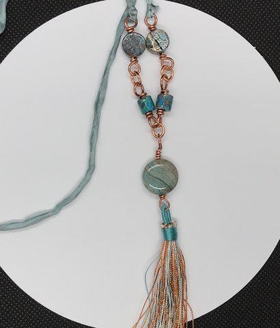Trendsetting Calsilica and Copper Tassel Necklace