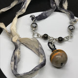 Bumble Bee Jasper Necklace with hand dyed Sari Chiffon Ribbon.