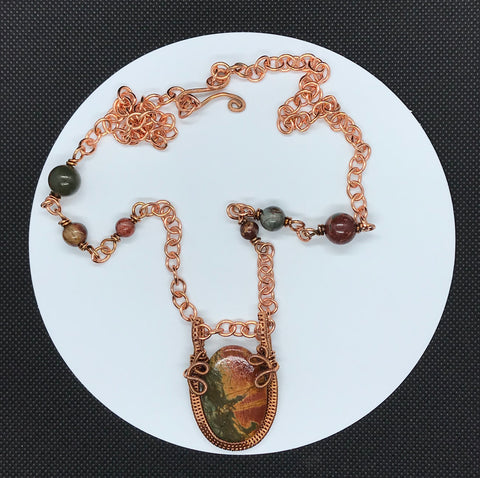 Stunning Picasso Jasper and Copper Necklace