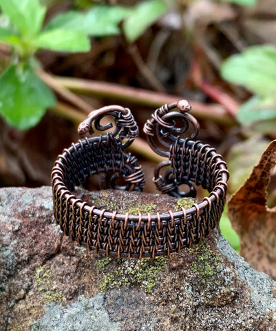 Wire wrapped copper ring can be worn with either side facing out.