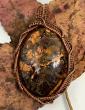 Vibrant Flame Jasper Pendant that's full of color in hand wrapped copper.