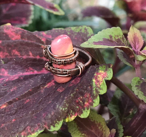 Unique Tumbled Mookaite and Woven Copper Ring - Size 5