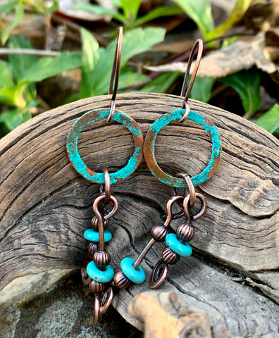 Patinated Turquoise Blue Copper Earrings with Dyed Howlite Dangles
