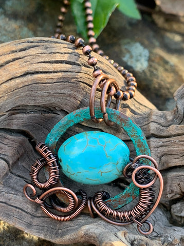 Patinated Copper and Howlite Necklace