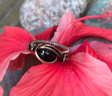 Garnet and Copper Ring - size 6 1/2