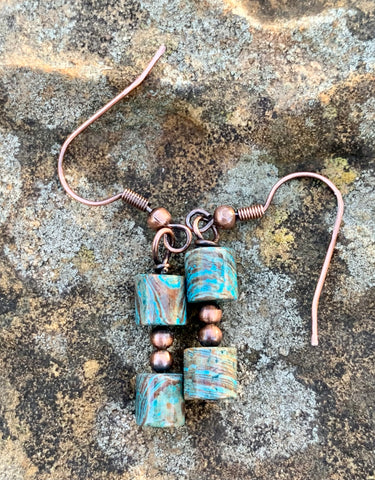 Calsilica and copper bead earrings