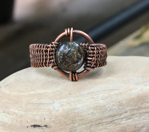 Unisex Bronzite and Copper Ring - Size 12