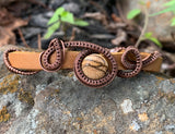 Picture Jasper, Copper and Leather Bracelet - Adjustable