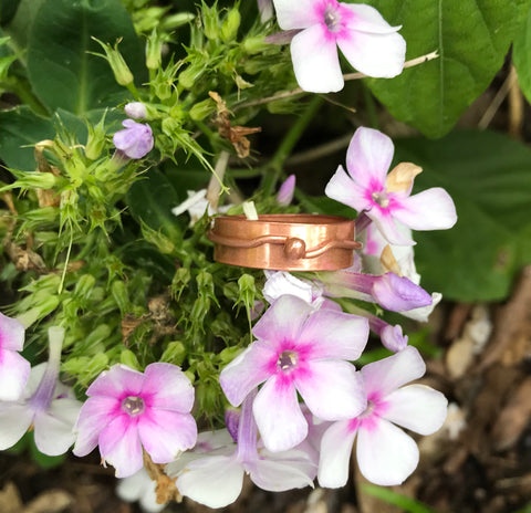 Copper band ring with melted copper ring - size 9 1/2