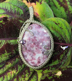 Lepidolite Pendant in Nickel Silver and Sterling Silver