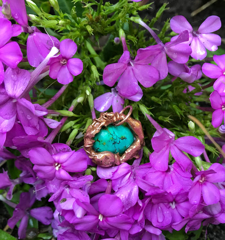 Melted Copper and Turquoise Pendant