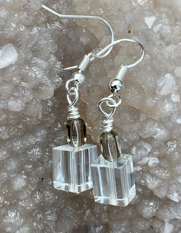 Shimmering Glass Cube Earrings in Sterling Silver.