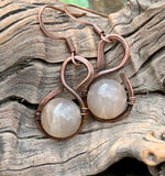 Sunstone and Hammered Copper Earrings