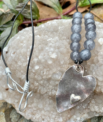 Rustic Silvertone Heart Necklace with Gray Agate Beads on a black Leather Cord.