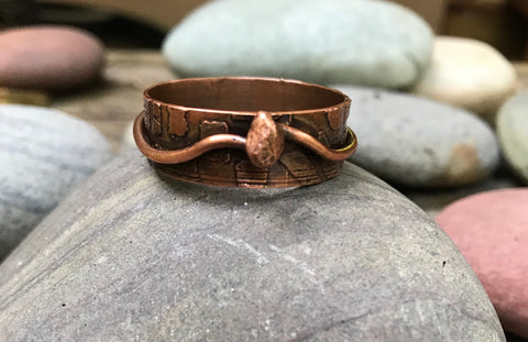 Large Copper Etched Ring