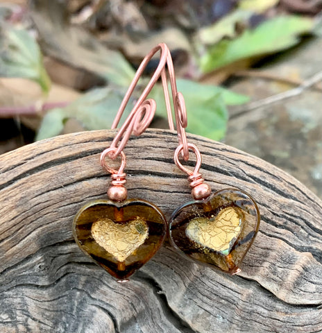 Dainty Striped Brown Glass Heart Earrings with copper bead accent and handmade copper ear wires.