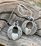 Silver Plated Heart with Wings Earrings on Sterling Silver Ear Wires