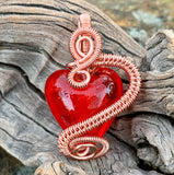 Red Lampwork Glass Heart Pendant in Copper