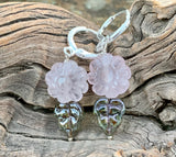 Sterling Silver Earrings with delicate carved Rose Quartz Flowers with Green Glass Leaves