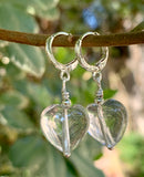 Sterling Silver Quartz Heart Earrings