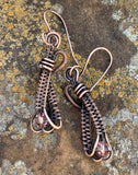Handwoven Copper Earrings with Sparkling Swarovski Crystals on handmade copper ear wires.