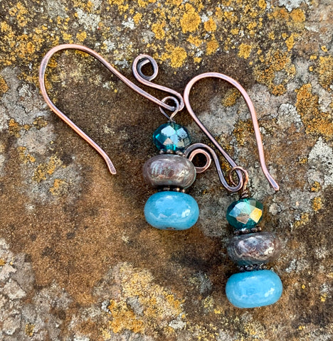 Aquamarine, Calsilica and Crystal Copper Earrings