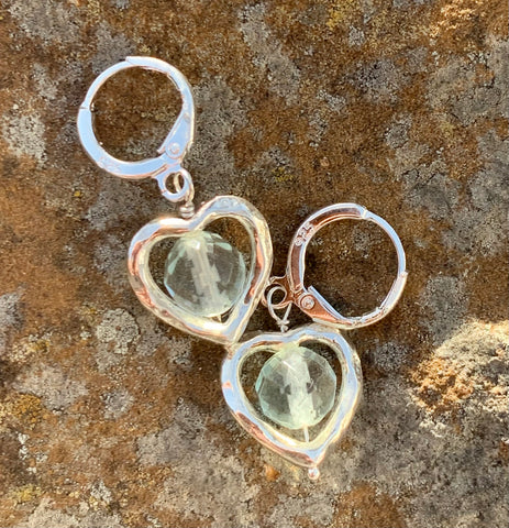 Sparkling Sterling Silver Earrings with Faceted Fluorite nestled inside Silver Plated Hearts.