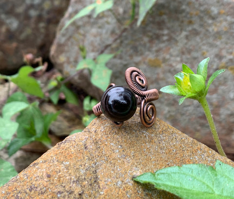 Botswana Agate and Copper Ring - adjustable