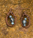 Woven Copper Earrings with Aquamarine and Fluorite
