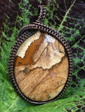 Picture Jasper Pendant wrapped in copper