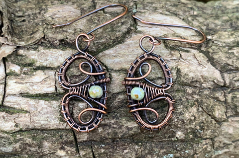 Woven Copper and Czech Glass Earrings