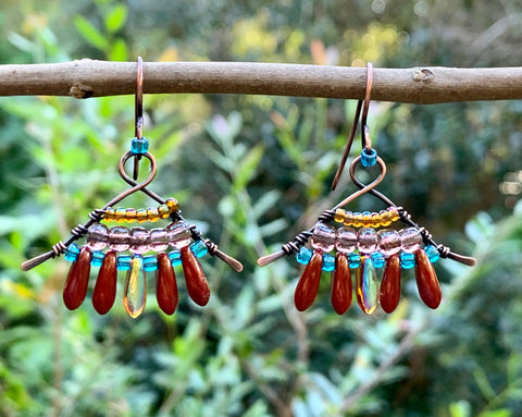 Handcrafted colorful lightweight earrings with plenty of bling on handmade copper ear wires.