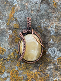 Tumbled Quartz-like River Rock Pendant in Copper