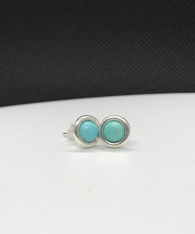 Sterling Silver and Sleeping Beauty Turquoise Stud Earrings