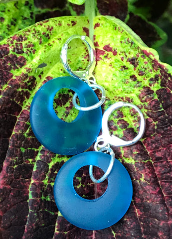 Recycled Glass and Sterling Silver earrings