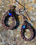 Flashy Woven Copper and Swarovski Crystal Earrings