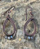 Hypoallergenic Wire wrapped Copper earrings with Labradorite accent beads on Niobium Ear wires.